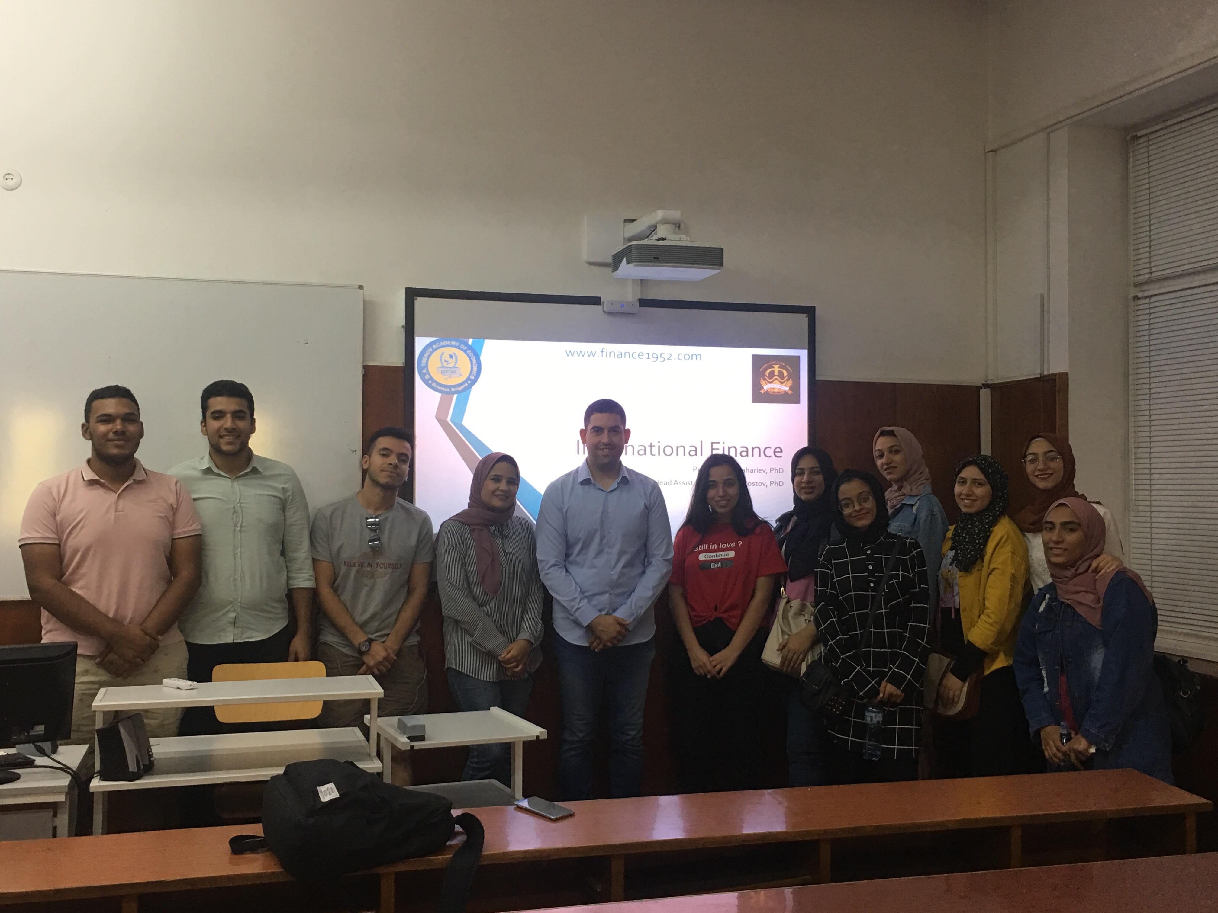 Гл. ас. д-р Димитър Костов с лекция по международни финанси в рамките на лятно училище за египетски студенти (6.9.2019 г.)