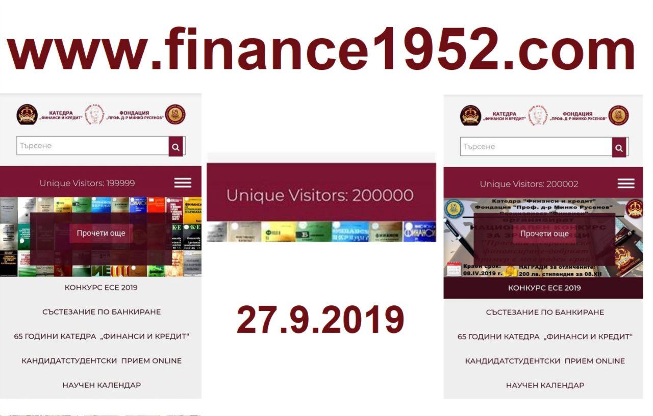 Двеста хиляди уникални посетители достигна сайта finance1952.com на празника Свищовски лозници (28.9.2019 г.)